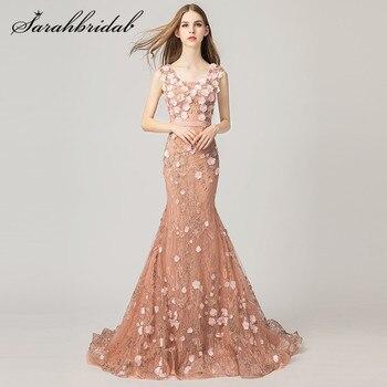 840be101f233438 Молодежное вечернее платье русалки Новое поступление милый цветок ручной  работы со шлейфом бусины карамельного цвета с
