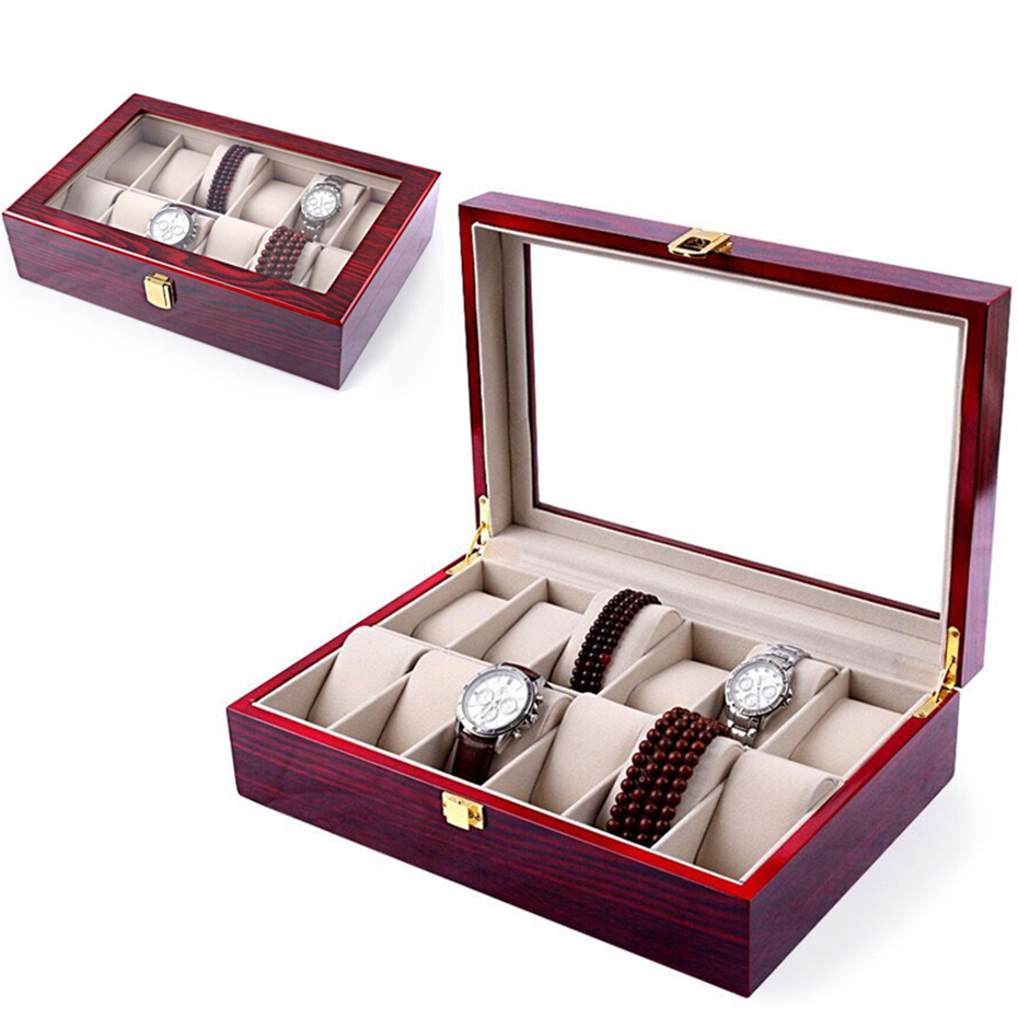 Aivtalk Watch Boxes 12Slots MDF Luxury Wood Watch Display Case Watches Box for Expensive Jewelry Watch Storage Display Red watchcase storage luxury 22 slots 2 layer wood glossy lacquer watch box jewelry collection display drop shipping supply
