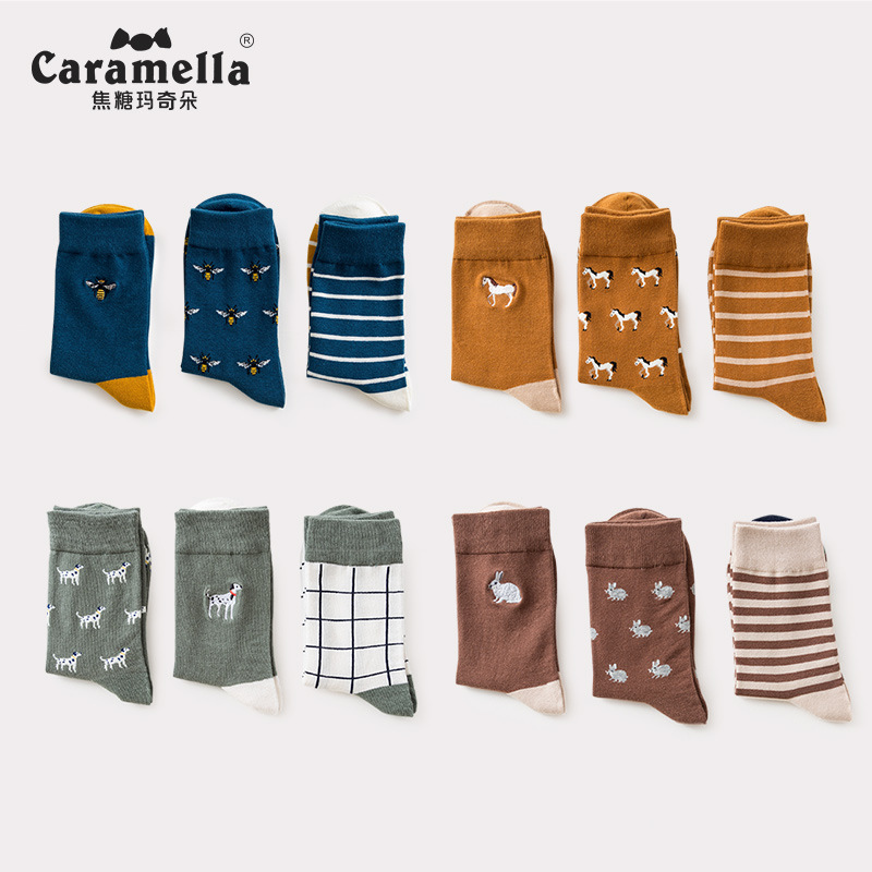 3 Pairs/Lot Caramella Men's Socks Cotton Crew Socks Mid-Calf Length Jacquard Embroidery Animal Pattern