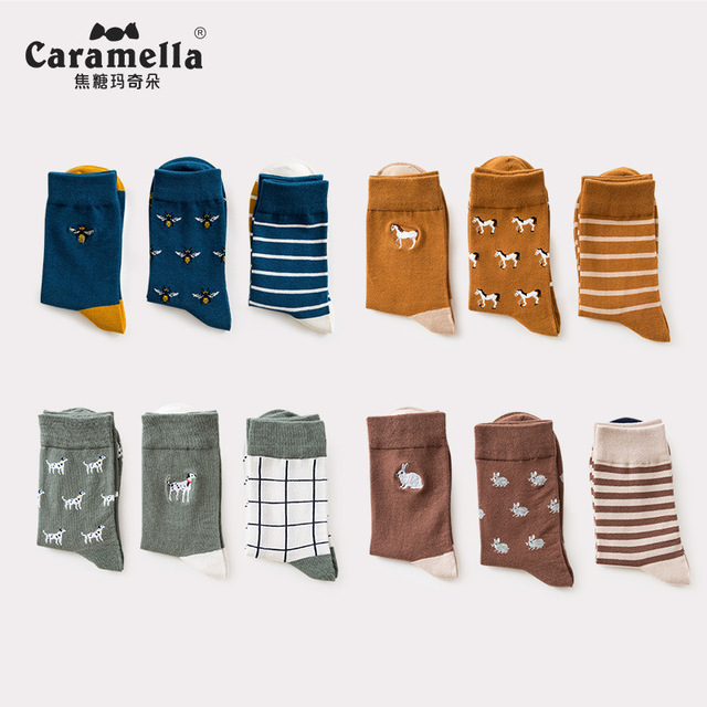 3 Pairs/Lot Caramella Mens Socks Cotton Crew Socks Mid Calf Length Jacquard Embroidery Animal Pattern