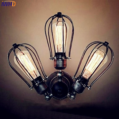 купить IWHD Industrial Vintage Wall Lamp With 3 Lights For Home Lighting Edison Wall Sconce Arandela LED Stair Light по цене 3648.07 рублей