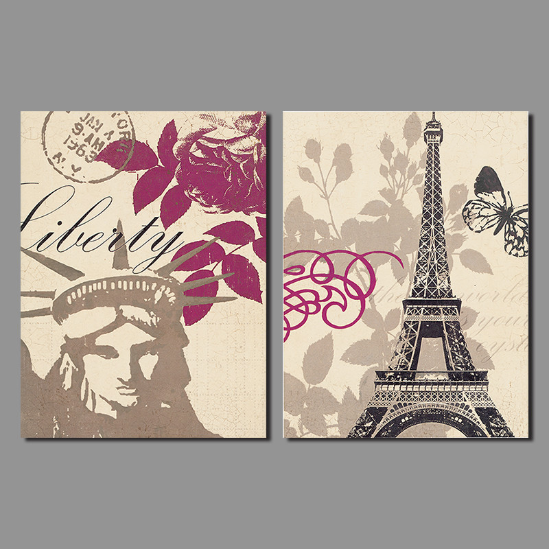 New York City Picture Canvas Painting Modern Wall Art: Modern City New York Decoration Stamp Paris Eiffel Tower
