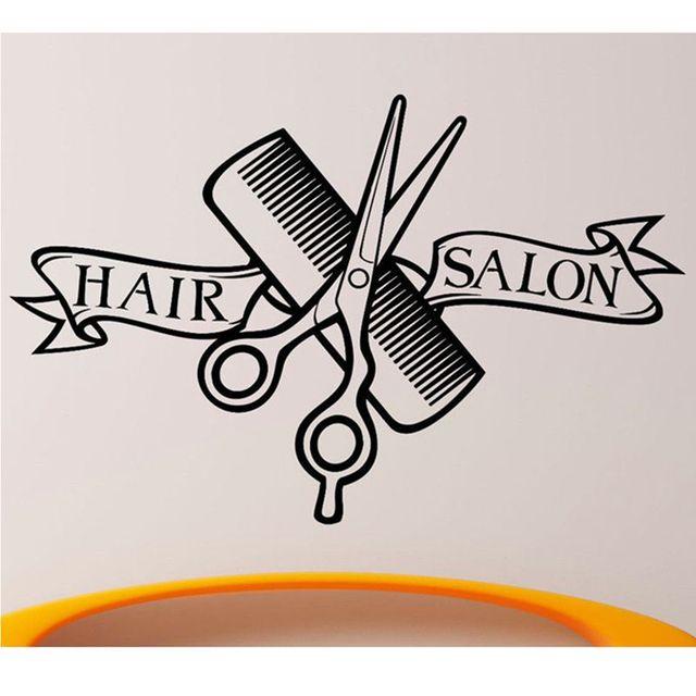 Buy hair salon sticker name scissors hair for Stickers salon