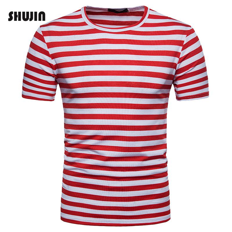 SHUJIN Striped Patchwork T Shirts Men Short Sleeve O Neck Summer T-shirt Casual Basic Tee for Male Camisetas Hombre