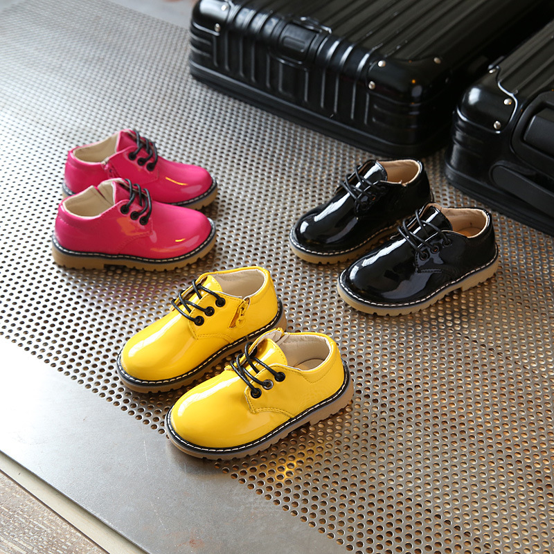 Children flat shoes 2018 spring new bright leather yellow boots big head shoes boys and  ...