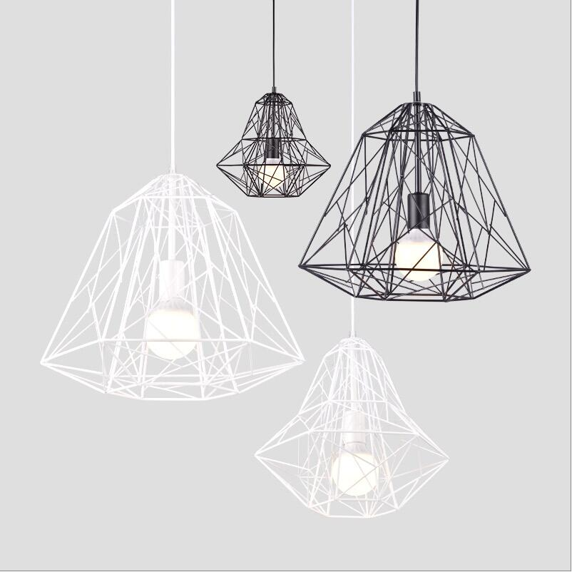 Black Iron Wire cage pendant lights lamp bird nest metal cage 110-240v Dining room loft home lighting suspension wireflow light vintage birdcage crystal chandelier lighting black rustic bird cage pendant hanging light chandeliers lamp for dining room bar