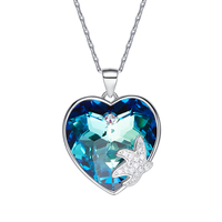 Heezen Luxury Blue Heart Shaped Pendant Necklace Fashion Statement Necklace Starfish Pendant Austrian Rhinestone Gifts for Women