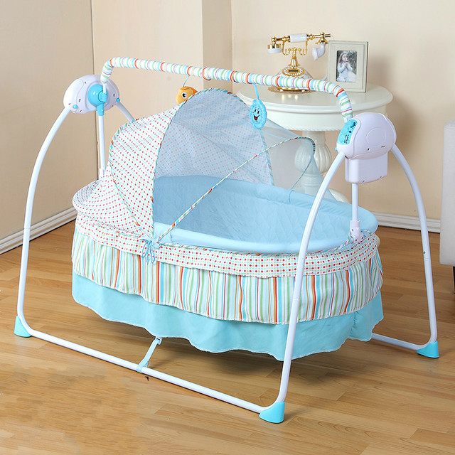Baby Cradle Newborn Crib Bed Basket Small Shaker Electric Bouncer Swing  Automatic Rocking Chair Bed Basket With Plug
