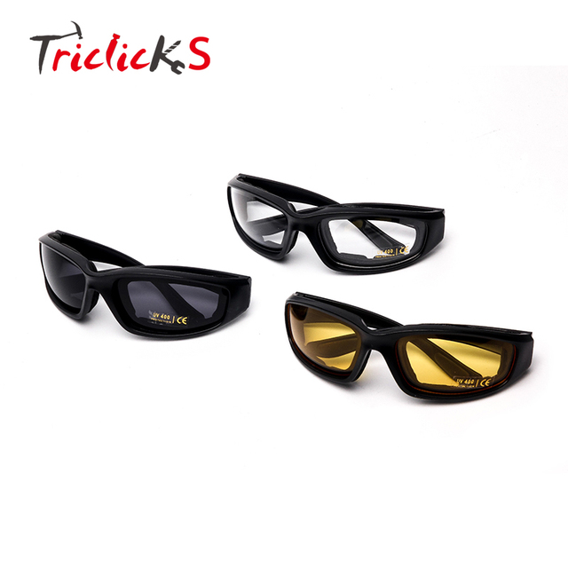 ed1cbfd8bc Triclicks 3 Pieces Motorcycle Sports Biker Riding Glasses Padded Wind  Resistant Sunglasses Protective Gear Glasses 3 Colors Lens