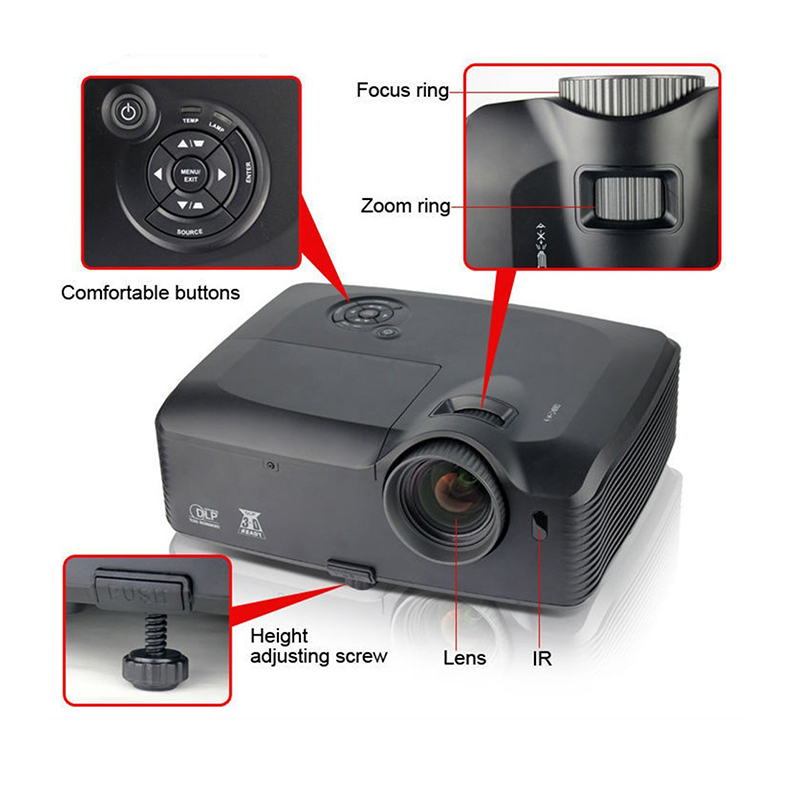 Everyone Gain Outdoor Projector 5000 Lumens Highlight Engineering Proyector  Full HD Beamer 8000X Proiettore Full hdCeiling Mount