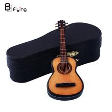 Mini Miniature En Bois Bois Acoustique Guitare Instrument de musique À Domicile Collection Avec Cas Stand