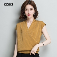 XJXKS Thin Section Bright Silk Short sleeved Ice Silk T shirt Female European Style 2018 New Loose V neck Shirt Summer Tops