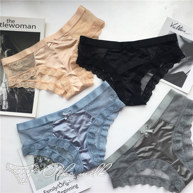 SP&CITY Fashion Silk Lace Hollow Out   Panties   Sex String European Women Transparent Lace Underwear Crotch Cotton Briefs Lingerie