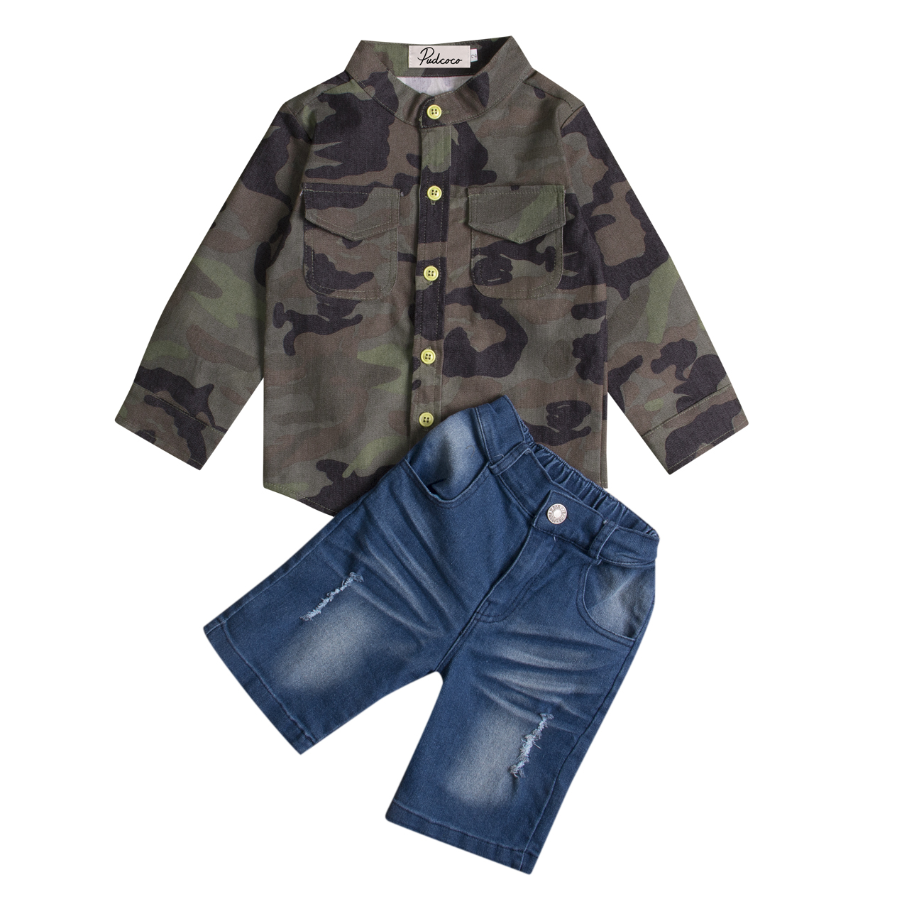 Street Style Kids Long Sleeve Baby Boy Camouflage T-shirt Shirt+Torn Jeans Shorts Cool  2pcs Outfits Clothing Set прогулочные коляски cool baby kdd 6699gb t