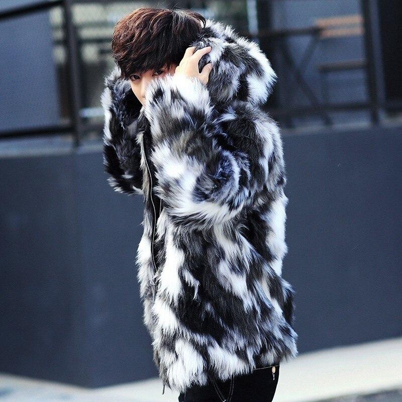Erkek Kıyafeti'ten Yapay Deri Paltolar'de Kış erkek kürk palto Erkek Kürk Mont Ile Kaput FurParka Büyük Boy Erkekler Kürk Palto Sıcak Faux Kürk Ceket Erkekler'da  Grup 2