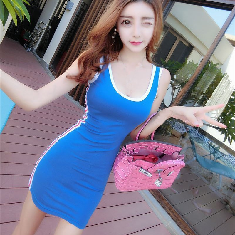 2019 Summer Package Hip Women Dress Casual Sleeveless O Neck Striped Slim Sporty Dress Sexy Mini Bodycon Dresses Vestido