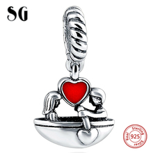 Fit Authentic Pandora Charms Silver 925 Original Antique Lover Boat with Red Enamel Love Hearts Bracelet Beads Jewelry For Gifts цена
