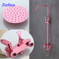 Dofaso luxury pink shower faucet girl best new home gift quality color bath shower set mixer
