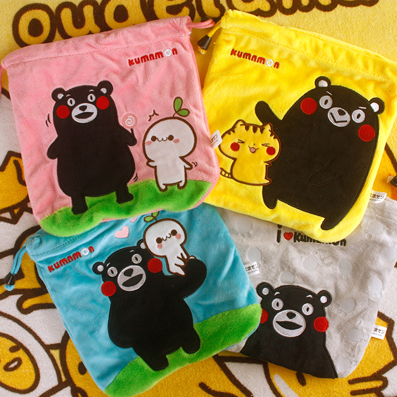 IVYYE 1PCS Kumamon Cartoon Drawstring Bags Cute Plush storage handbags makeup bag Coin Bundle Pocket Purse