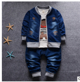 2016 New Fashion Baby Boys Clothing Set Spring/Autumn Children Cotton Clothes Set Kids Boys Cowboy Coats +Jeans 3 PCS Suit