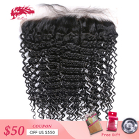 Ali Queen Hair Products Deep Wave Virgin Brazilian Hair Natural Color 8 to 20 13x4 Lace Frontal Closure