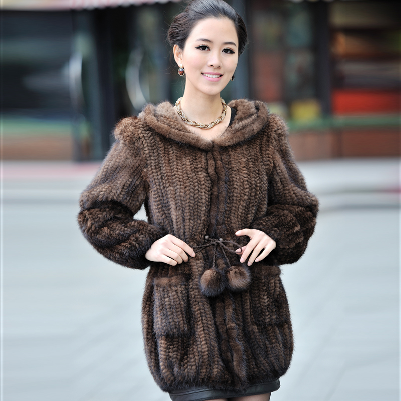 Winter Women's Genuine Natural Knitted Mink Fur Coat With Hoody Lady Wam Outerwear Female Garment VF0347