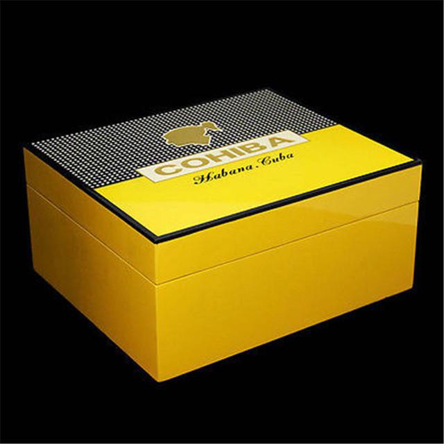 Wooden Yellow Cigar Humidor W/ Ashtray