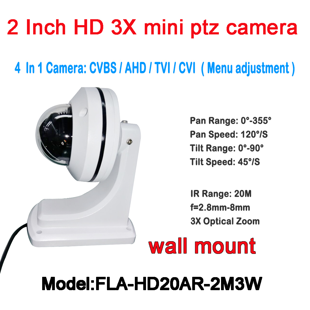 3X Zoom Mini PTZ Camera include Wall Mount Bracket Support IP66 Outdoor Waterproof, 2MP AHD TVI CVI CVBS 4 In 1 PTZ Dome Camera 1080p ptz dome camera cvi tvi ahd cvbs 4 in 1 high speed dome ptz camera 2 0 megapixel sony cmos 20x optical zoom waterproof