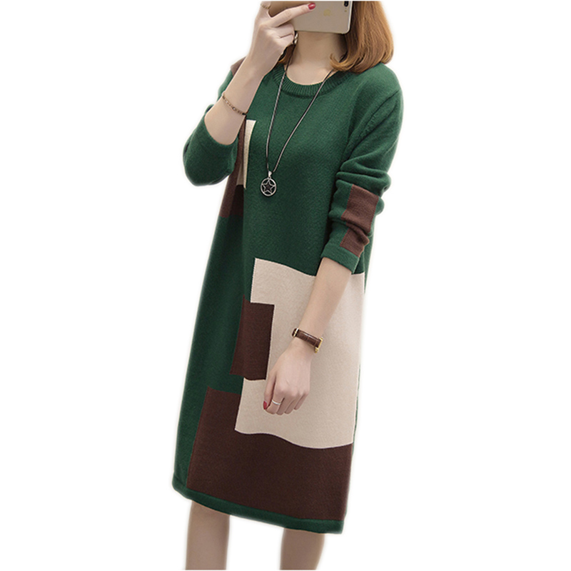 O-cou printemps femmes pull robe 2018 nouveau automne mode lâche grande taille longue section pull robes pull femme YM172