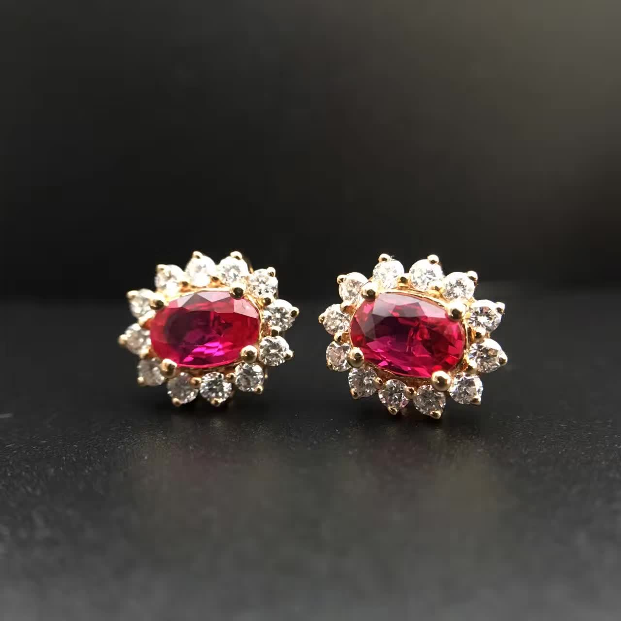 1.020ct+0.445ct 18K Gold Natural Ruby Stud Earrings for Women Diamond Encrusted Free Shipping