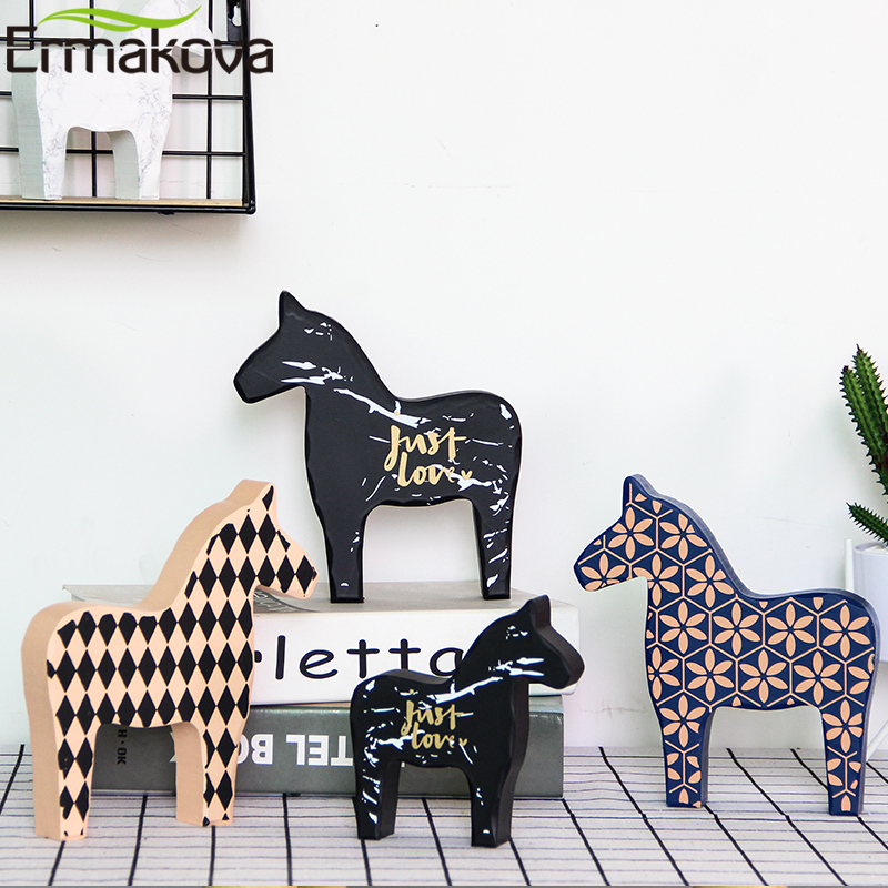ERMAKOVA Wooden Horse Figurine Cute Child Toy Gift Horse Crafts Dala Horse Statue Home Desktop Office Decoration