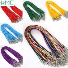 2mm 10 sztuk 19 kolory Faux skórzany sznur łańcuchy regulowany naszyjnik bransoletka z karabińczyk dla DIY komponenty do wyrobu biżuterii