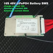 48V 30A LiFePO4 batterie BMS 3,2 V zelle 16S 48V/51,2 V 30A BMS mit balance funktion Verschiedene ladung und entladung port