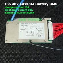 LiFePO4 Batería de 48V 30A, celda BMS de 3,2 V, 16S, 48V/51,2 V, 30A, BMS con función de equilibrio, puerto de carga y descarga diferente
