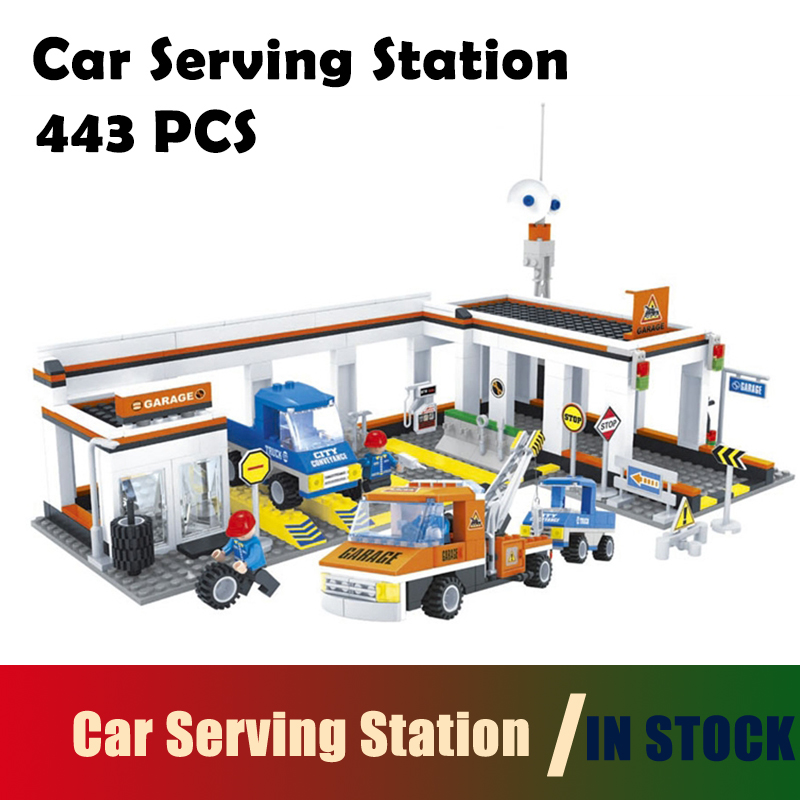 Compatible with lego city Model building kits Car Serving Station building blocks Educational hobbies for children