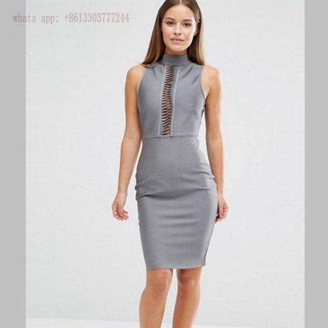 c4270de9298 Sexy femmes robes courtes d été robe moulante élégant gris bandage robe  rouge noir robe