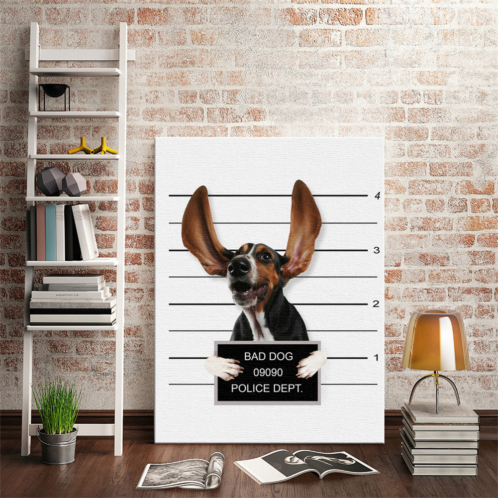 HTB1ZjtQLSzqK1RjSZFpq6ykSXXa6 Nordic Style Boxing Dog Canvas No Frame Art Print Painting Poster Funny Cartoon Animal Wall Pictures For Kids Room Decoration