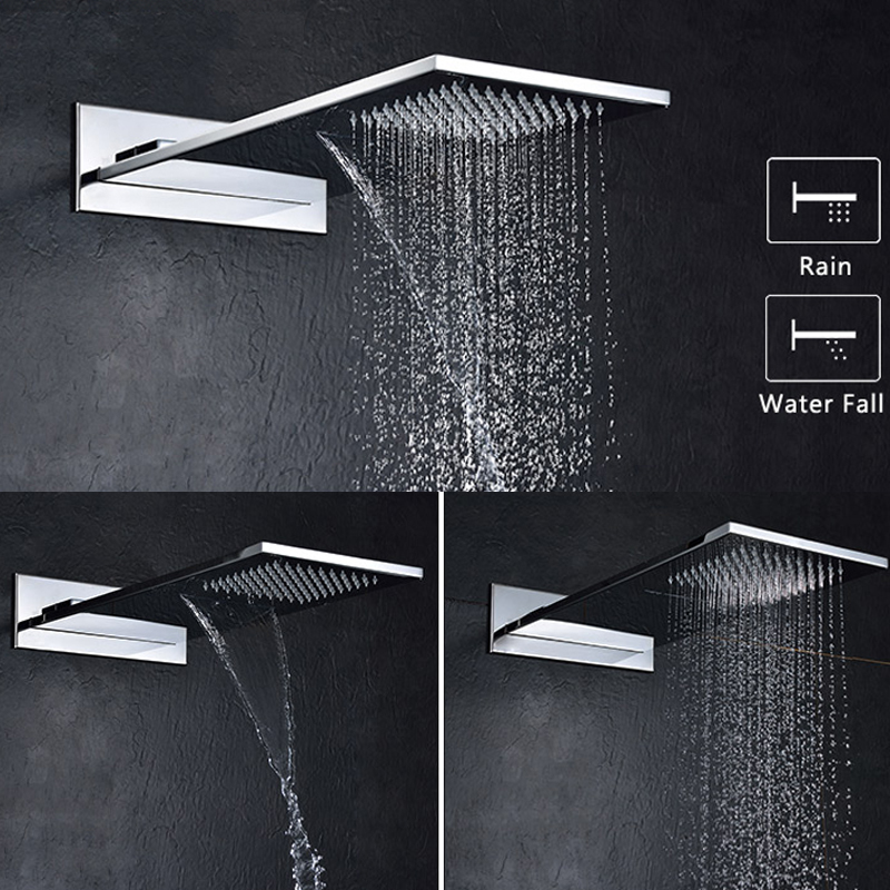 304 stainless steel square thicker showerheads rectangle shape rainfall waterfall wall mounted bathroom rain shower chrome