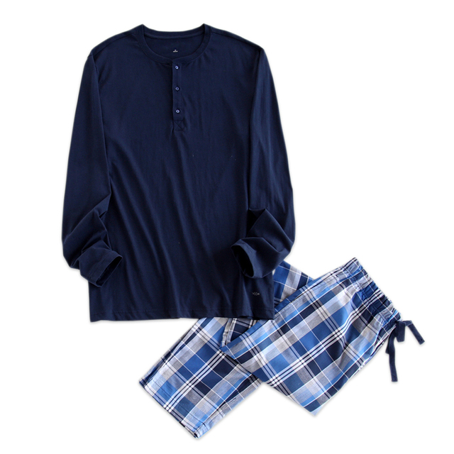 Simple pyjamas men cotton autumn pajama set top and trousers Separate sales pijamas long-sleeve sexy Korean sleepwear night suit