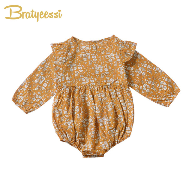 df522e834 Ruffles Baby Rompers for Girls Cotton Floral Baby Girl Romper Long ...