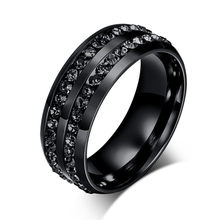 LETAPI 2019 New Black Crystal Rings For Women Two Rows Female Rings Trendy Stainless Steel Wedding Jewelry(China)