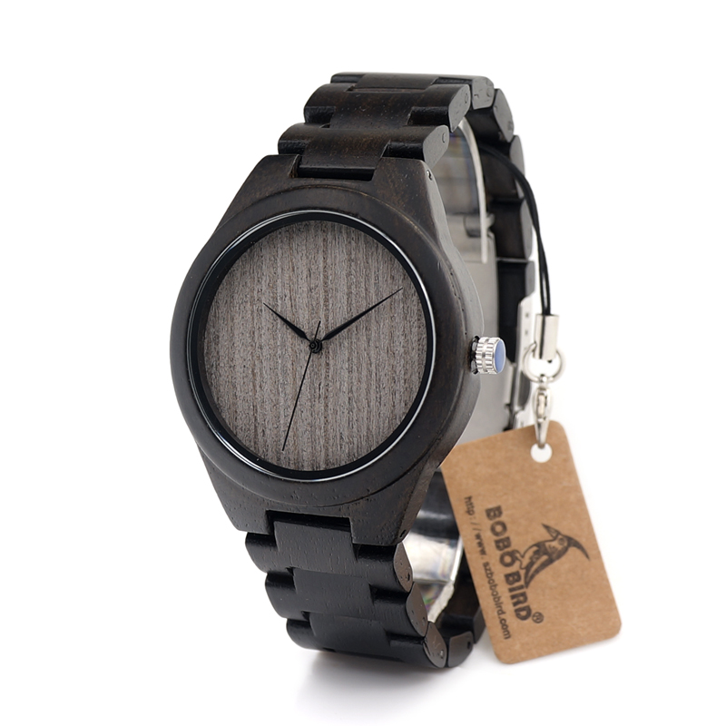 BOBO BIRD H06 Mens Black Sandal Wood Watch Grey Plain Dial Wooden Strap Leather Strap Available