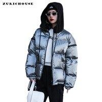 ZURICHOUSE Glossy Women Down Jacket Winter Parkas Coat Waterproof Thick Warm Hit Color Hooded Short Puffer Jacket Female