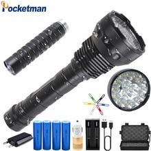 80000 Lumens 8800mA Battery LED Flashlight High Power 15 x XM-T6 XHP70.2 5 Modes Electricity Display Lanterna Torch Waterproof 20000 lumens 15 x xm t6 led 5 light modes waterproof super bright flashlight torch with 1200m lighting distance