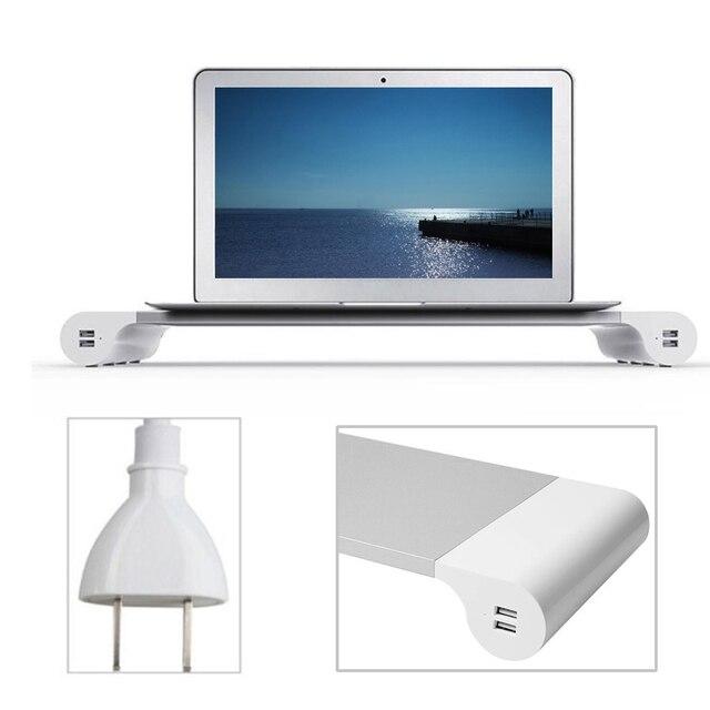 Besegad suporte do monitor da liga de alumínio barra espaço dock mesa riser com 4 portas usb para imac macbook computador portátil gadgets eua plug