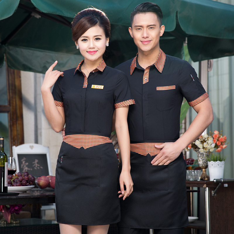 Chinese Waiter Uniforms Hotel Waiter Clothes Summer Waiter Tops Men And Women Hotel Work Service Wear Shirt Uniform With Apron 9
