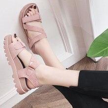 64a580e6b -Dedos abrir Sandálias Estudante 2018 Novos sapatos de Verão Coreano Estilo  Harajuku Coringa Grosso-