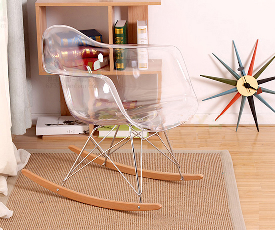 Charmant Modern Design Transparent Clear Plastic And Wood Rocking Chair. Smoke  Acrylic Rocking Chair With Armrest