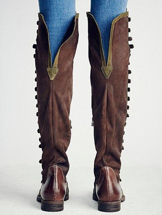 Patchwork Femmes Nouvelle As Picture Vert 2017 Qualité as Conception Classique Armée Brun Bottes Genou De Sur Plat Haute Picture Hiver Mode Marque Cowboy I75wq