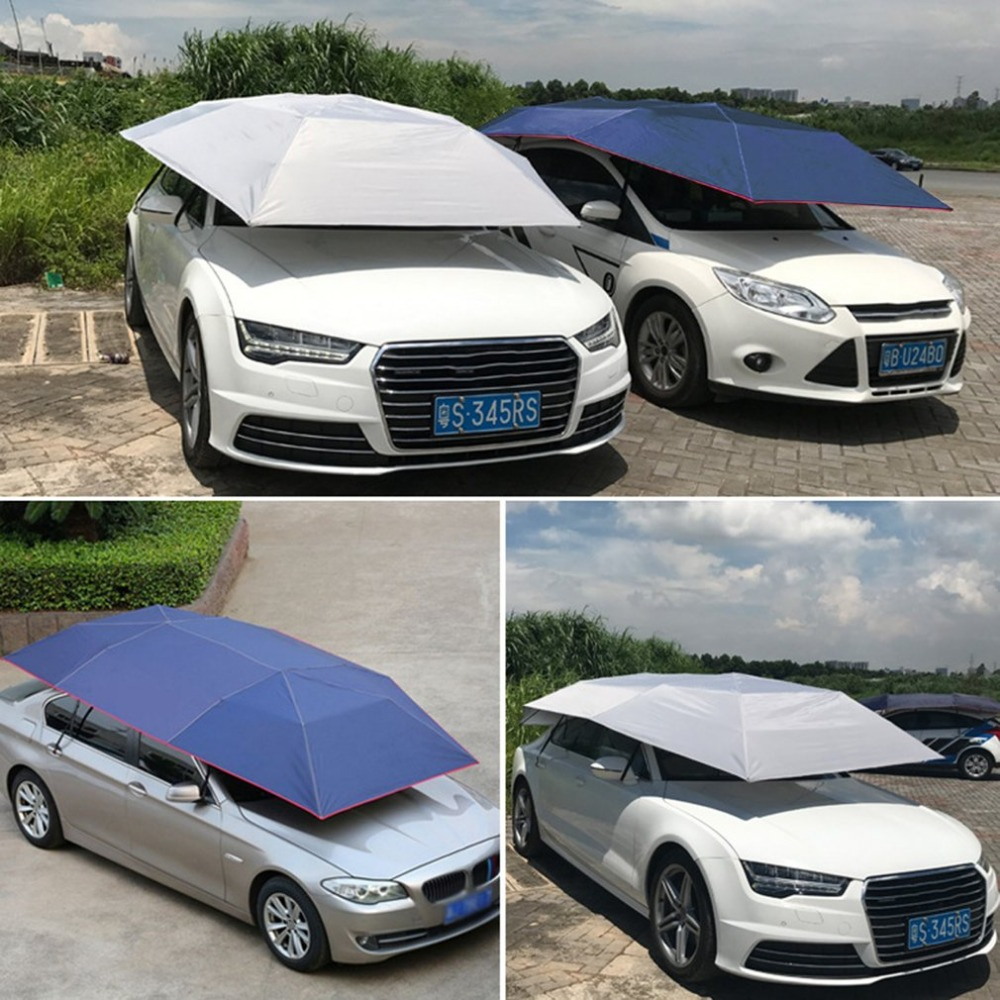 Half Automatic Awning Tent Car Cover Outdoor Waterproof Folded Portable Car Canopy Cover Anti-UV Sun Shelter Car Roof Tent New foldable outdoor car tent umbrella sunshade roof cover cloth full automatic anti uv waterproof windproof replaceable car cover